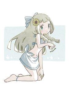 Rating: Safe Score: 3 Tags: 1girl artist_name barefoot bikini blonde_hair bow braid flower from_side full_body green_eyes hair_bow hair_flower hair_ornament highres holding holding_poke_ball kneeling lillie_(pokemon) long_hair looking_to_the_side mozpoke poke_ball pokemon pokemon_(game) pokemon_sm solo sunflower swimsuit twin_braids User: DMSchmidt