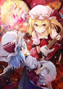 Rating: Safe Score: 0 Tags: 2girls arm_belt ascot bat_wings belt black_wings blonde_hair blue_hair crystal electric_guitar fingerless_gloves flandre_scarlet full_moon gloves grin guitar hair_between_eyes hat hat_ribbon highres holding holding_microphone instrument looking_at_viewer medium_hair microphone miniskirt mirino mob_cap moon multiple_girls music one_side_up playing_instrument red_eyes red_gloves red_ribbon remilia_scarlet ribbon siblings sisters skirt skirt_set smile sparkle teeth touhou_project white_gloves white_hat white_skirt wings yellow_neckwear User: DMSchmidt