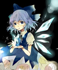 Rating: Safe Score: 1 Tags: 1girl :o bangs black_background black_neckwear black_ribbon blue_bow blue_dress blue_eyes blue_hair blush bow cirno cowboy_shot dress eyebrows_visible_through_hair hair_between_eyes hair_bow highres ice ice_wings lens_flare looking_at_viewer neck_ribbon parted_lips pinafore_dress puffy_short_sleeves puffy_sleeves ribbon satoupote short_hair short_sleeves solo touhou_project wings User: DMSchmidt