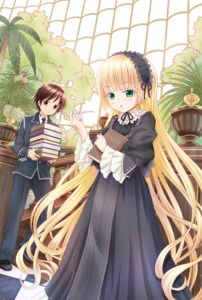 Rating: Safe Score: 0 Tags: 1boy 1girl black_dress book brown_eyes chin_strap copyright_name dress gosick gotou_hisashi green_eyes hairband highres kujou_kazuya lolita_fashion lolita_hairband lolita_headband long_hair looking_at_viewer palm_tree pipe plant school_uniform title_drop tree very_long_hair victorica_de_blois User: Domestic_Importer