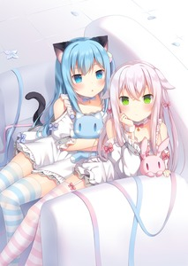 Rating: Safe Score: 2 Tags: 2girls :o amashiro_natsuki animal_ears arm_support bangs blue_eyes blue_hair blue_ribbon blush bow bunny_ears cat_ears cat_girl cat_tail choker closed_mouth couch dress ears_down eyebrows_visible_through_hair garter_straps green_eyes hair_between_eyes hair_bow hair_ornament head_rest highres long_hair long_sleeves looking_at_viewer multiple_girls on_couch one_side_up original parted_lips petals pink_bow pink_ribbon puffy_short_sleeves puffy_sleeves ribbon short_sleeves silver_hair sitting slit_pupils striped striped_legwear stuffed_animal stuffed_bunny stuffed_cat stuffed_toy tail thighhighs tile_floor tiles very_long_hair white_choker white_dress User: DMSchmidt