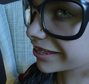 Rating: Safe Score: 5 Tags: 1girl 3dcg black_hair braces chair freckles glasses green_eyes looking_at_viewer nose_piercing photorealistic shadow smile starcity User: fantasy-lover