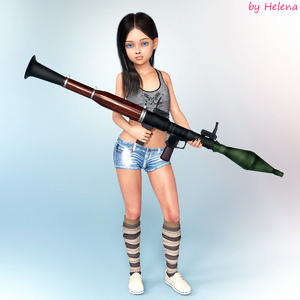 Rating: Questionable Score: 3 Tags: 1girl 3dcg black_hair blue_eyes flat_chest highres looking_at_viewer photorealistic pose rocket_launcher shoes socks striped_legwear trannyhelena_(user_tksm7548) User: fantasy-lover