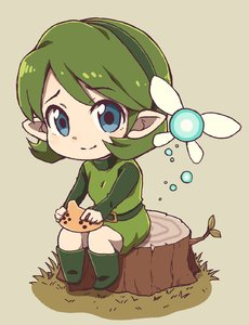 Rating: Safe Score: 1 Tags: 1girl belt belt_buckle blue_eyes boots buckle chibi closed_mouth eyebrows eyebrows_visible_through_hair facing_away fairy fairy_wings full_body green_belt green_footwear green_hair green_hairband green_shirt hairband highres instrument kokiri long_sleeves looking_at_viewer nazonazo_(nazonazot) ocarina pointy_ears saria shirt short_hair sitting smile solo the_legend_of_zelda the_legend_of_zelda:_ocarina_of_time tree_stump undershirt unitard wings User: DMSchmidt