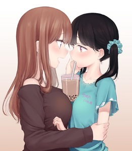 Rating: Safe Score: 4 Tags: 2girls age_difference arm_grab bare_shoulders between_breasts black_hair blush breast_press breasts brown_eyes brown_hair bubble_tea bubble_tea_challenge cowtits drink drinking drinking_straw face-to-face from_side hair_ornament hair_scrunchie half-closed_eyes hand_on_another's_face highres large_breasts long_hair long_sleeves looking_at_another mashimaru_(muzikluva) multiple_girls open_mouth original scrunchie short_sleeves small_breasts symmetrical_docking twin_tails upper_body yuri User: Domestic_Importer