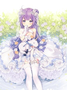 Rating: Safe Score: 0 Tags: 1girl ahoge azur_lane bangs bare_shoulders blush breasts covered_mouth dress elbow_gloves eyebrows_visible_through_hair flower garter_straps gloves hair_bun hair_flower hair_ornament highres holding one_side_up petals purple_eyes purple_hair rose see-through side_bun silltare sitting sleeveless sleeveless_dress small_breasts solo stuffed_animal stuffed_pegasus stuffed_toy stuffed_unicorn thighhighs twitter_username unicorn_(azur_lane) veil white_dress white_flower white_gloves white_legwear white_rose yellow_flower yellow_rose User: DMSchmidt