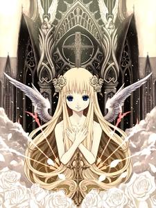 Rating: Safe Score: 0 Tags: 1girl angel_wings blonde_hair blue_eyes cross flower hand_over_heart hands_on_own_chest highres kooten_bergh_no_youhei long_hair looking_at_viewer nude original smile solo very_long_hair wings User: DMSchmidt