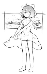 Rating: Safe Score: 1 Tags: 1girl absurdres ahoge alternate_costume bare_arms bare_legs bare_shoulders barefoot bow cirno collarbone dress dress_lift expressionless flat_chest full_body greyscale hair_bow highres ice ice_wings lifted_by_self looking_at_viewer monochrome nopan palm_tree see-through short_hair sketch solo spaghetti_strap standing strap_slip sundress sunege_(hp0715) touhou_project tree wings User: DMSchmidt