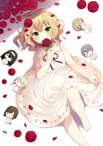Rating: Safe Score: 0 Tags: 1girl :3 :o arm_at_side bangs bare_arms bare_legs bare_shoulders barefoot blonde_hair blush blush_stickers brown_hair character_doll character_request dress eyebrows_visible_through_hair feet_out_of_frame floral_print flower from_above futaba_anzu green_eyes hair_flower hair_ornament hair_over_one_eye hairband highres holding holding_flower idolmaster idolmaster_cinderella_girls knee_up looking_at_viewer low_twintails lying maekawa_miku mafuyu_(chibi21) on_back parted_lips petals purple_hair red_ribbon red_rose ribbon rose rose_petals rose_print sagisawa_fumika shirasaka_koume short_hair sleeveless sleeveless_dress solo tareme twin_tails white_dress white_hairband User: DMSchmidt