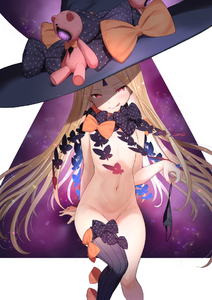 Rating: Questionable Score: 6 Tags: 1girl abigail_williams_(fate/grand_order) black_bow black_headwear black_legwear black_panties blonde_hair bow bug butterfly closed_mouth fate/grand_order fate_(series) flat_chest hat head_tilt holding holding_pantsu insect keyhole licking_lips long_hair looking_at_viewer matanonki naughty_face navel nude orange_bow panties_removed pantsu polka_dot polka_dot_bow purple_background red_eyes ribs single_thighhigh sitting smile solo striped striped_legwear stuffed_toy thighhighs tongue tongue_out underwear very_long_hair white_background witch_hat User: DMSchmidt