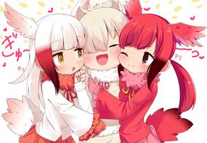 Rating: Safe Score: 1 Tags: 10s 3girls ;) alpaca_ears alpaca_suri alpaca_suri_(kemono_friends) animal_ears bangs bird_tail blunt_bangs blush brown_eyes brown_hair cheek-to-cheek closed_eyes crested_ibis frilled_sleeves frills fur_collar girl_sandwich gloves hair_over_one_eye head_wings heart japanese_crested_ibis_(kemono_friends) kemono_friends long_hair makuran multicoloured_hair multiple_girls one_eye_closed pink_gloves red_gloves red_hair sandwiched scarlet_ibis scarlet_ibis_(kemono_friends) simple_background smile tail white_background white_hair wide_sleeves wings yellow_eyes User: Domestic_Importer