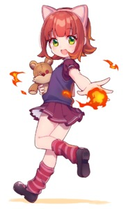 Rating: Safe Score: 4 Tags: 1girl animal_ears annie_hastur bangs blunt_bangs fake_animal_ears fire full_body green_eyes holding kneehighs league_of_legends leg_up looking_at_viewer miniskirt open_mouth pleated_skirt purple_skirt red_hair red_legwear shoes short_hair short_sleeves simple_background skirt smile socks solo striped striped_legwear stuffed_toy tibbers uso_(ameuzaki) vest white_background User: Domestic_Importer
