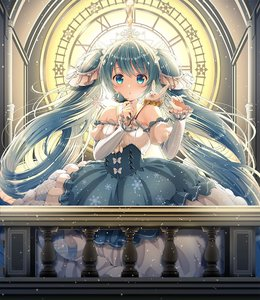 Rating: Safe Score: 1 Tags: 1girl animal beamed_eighth_notes blue_eyes blue_flower blue_rose blue_skirt blue_sleeves blush bow breasts bunny clock clock_tower eighth_note flower green_hair hatsune_miku holding holding_flower long_hair long_sleeves looking_at_viewer musical_note parted_lips puffy_short_sleeves puffy_sleeves railing roman_numerals rose shirt short_over_long_sleeves short_sleeves skirt small_breasts snowflakes striped_sleeves tiara tower twin_tails very_long_hair vocaloid white_bow white_shirt white_sleeves yuki_miku yukine_(vocaloid) yuuka_nonoko User: DMSchmidt