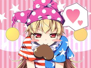 Rating: Safe Score: 1 Tags: 1girl american_flag_dress american_flag_shirt bangs blonde_hair blush_stickers chima_q chocolate chocolate_heart clownpiece fairy_wings food_in_mouth hat heart jester_cap leaning_forward long_hair mouth_hold polka_dot red_eyes short_sleeves solo spoken_heart star striped striped_background touhou_project upper_body valentine very_long_hair wings User: Domestic_Importer