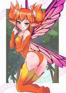 Rating: Safe Score: 6 Tags: 1girl absurdres ass bangs bare_shoulders beamed_eighth_notes blue_eyes blush breasts butterfly_wings detached_sleeves eighth_note fairy feo_ul final_fantasy final_fantasy_xiv fingernails grin hand_up highres leotard long_fingernails long_sleeves musical_note orange_hair orange_legwear orange_leotard pointy_ears purple_nails purple_wings quarter_note sharp_fingernails shiroganeff short_hair short_twin_tails sidelocks small_breasts smile solo sparkle staff_(music) strapless strapless_leotard teeth thighhighs tree twin_tails uneven_eyes wings User: DMSchmidt