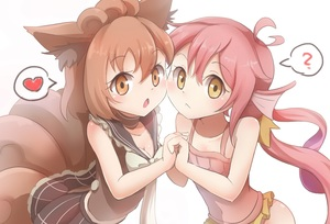 Rating: Safe Score: 2 Tags: 2girls ? animal_ears bai_qiao breasts brown_choker brown_eyes brown_hair brown_skirt choker cleavage creatures_(company) flat_chest game_freak gen_1_pokemon heart highres holding_hands long_hair looking_at_viewer magikarp medium_hair multiple_girls navel nintendo personification pink_hair pokemon simple_background skirt small_breasts spoken_heart spoken_question_mark tail twin_tails upper_body vulpix white_background User: Domestic_Importer