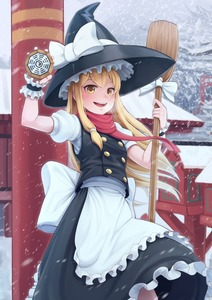 Rating: Safe Score: 0 Tags: 1girl absurdres black_hat blonde_hair blush bow broom brown_eyes day eyebrows_visible_through_hair goback hat hat_bow hat_ribbon highres holding holding_broom kirisame_marisa long_hair looking_at_viewer master_spark mini-hakkero open_mouth outdoors ribbon smile snow snowing solo standing torii touhou_project white_bow white_ribbon winter witch_hat yin_yang User: DMSchmidt