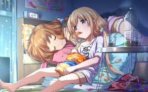 Rating: Safe Score: 0 Tags: 10s 2girls :3 barefoot bed blonde_hair blush bottle brown_eyes brown_hair chips closed_eyes closed_mouth cup facing_another food futaba_anzu hair_bobbles hair_ornament idolmaster idolmaster_cinderella_girls long_hair looking_at_another lying moroboshi_kirari multiple_girls on_side potato_chips sitting smile table twin_tails zattape User: Domestic_Importer