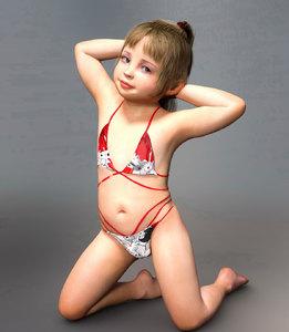 Rating: Safe Score: 16 Tags: 3dcg bikini blonde_hair blue_eyes bouba flat_chest hair_tie kneeling legs_apart photorealistic ponytail pose smile swimsuit User: htcone