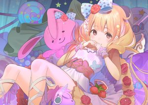 Rating: Safe Score: 2 Tags: 1girl bangs blonde_hair blue_bow blush bow bracelet breasts brown_eyes candy candy_wrapper dress eyebrows_visible_through_hair flower food fruit futaba_anzu grin hair_between_eyes hair_bow hair_flower hair_ornament hands_up idolmaster idolmaster_cinderella_girls idolmaster_cinderella_girls_starlight_stage jewellery koyoi_mitsuki leg_ribbon lollipop long_hair looking_at_viewer pearl_bracelet pink_flower polka_dot polka_dot_bow red_flower red_rose ribbon rose sleeveless sleeveless_dress small_breasts smile solo star star_hair_ornament strawberry striped striped_ribbon stuffed_animal stuffed_bunny stuffed_toy stuffed_unicorn swirl_lollipop very_long_hair white_dress white_ribbon wrist_cuffs User: Domestic_Importer