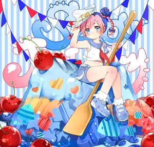 Rating: Safe Score: 0 Tags: 1girl blue_eyes blue_hair braid cherry double_bun food fruit hat honya1 jojo_no_kimyou_na_bouken kuujou_jolyne multicoloured_hair paddle pink_hair sailor_collar solo two-tone_hair User: DMSchmidt