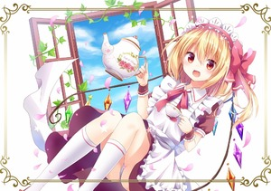 Rating: Safe Score: 0 Tags: 1girl :d alternate_costume apron bangs blonde_hair blue_sky blush bow brown_dress crystal cup day dress enmaided eyebrows_visible_through_hair feet_out_of_frame flandre_scarlet floral_print frame frilled_apron frills hair_bow headdress holding holding_cup holding_teapot kneehighs knees_together_feet_apart kure~pu looking_at_viewer maid maid_apron maid_headdress medium_hair neck_ribbon one_side_up open_mouth open_window panchira pantsu petals plant puffy_short_sleeves puffy_sleeves red_bow red_eyes red_ribbon ribbon short_sleeves sky smile solo teacup teapot touhou_project underwear vines white_apron white_background white_legwear white_pantsu window wing_collar wings wrist_cuffs User: DMSchmidt