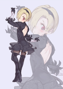 Rating: Safe Score: 5 Tags: 1girl backless_outfit black_dress black_footwear black_gloves black_hairband blonde_hair blush boots breasts cosplay dress from_behind full_body geregere_(lantern) gloves grey_background grey_legwear hair_over_one_eye hairband head_tilt high_heel_boots high_heels highres idolmaster idolmaster_cinderella_girls looking_at_viewer looking_back open-back_dress red_eyes shirasaka_koume short_dress short_hair simple_background small_breasts smile solo standing thigh_boots thighhighs yorha_no._2_type_b yorha_no._2_type_b_(cosplay) zoom_layer User: DMSchmidt