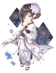 Rating: Safe Score: 1 Tags: 1girl aerial_fireworks arulumaya ayuanlv black_hair blush brown_eyes candy_apple creature fireworks floral_print flower food full_body granblue_fantasy hair_flower hair_ornament harvin highres holding holding_food japanese_clothes kimono long_sleeves looking_at_viewer mole mole_under_eye obi pointy_ears print_kimono purple_flower sandals sash short_hair sidelocks smile solo standing star tied_hair wavy_hair white_kimono wide_sleeves yukata User: DMSchmidt