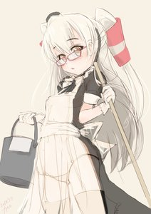 Rating: Safe Score: 1 Tags: 1girl amatsukaze_(kantai_collection) apron blush breasts eyebrows_visible_through_hair fyuo glasses gloves grey_background hair_between_eyes headdress highres kantai_collection long_hair looking_at_viewer maid maid_apron maid_headdress open_mouth pantsu red_glasses simple_background small_breasts solo twin_tails twitter_username underwear white_gloves white_hair white_pantsu yellow_eyes User: DMSchmidt