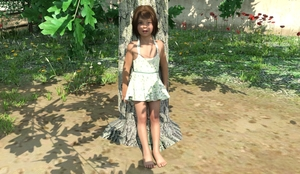 Rating: Safe Score: 4 Tags: 1girl 3dcg barefoot blue_eyes brown_hair dress flat_chest looking_at_viewer lynx outdoors photorealistic pose shadow standing tree User: fantasy-lover