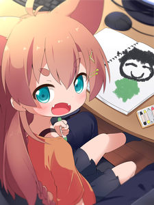 Rating: Safe Score: 0 Tags: 1girl :d animal_ears aqua_eyes bangs black_skirt blurry blurry_background blush braid brown_hair child_drawing crayon extra_ears eyebrows_visible_through_hair fangs hair_ornament hairclip highres keyboard_(computer) long_hair looking_at_viewer makuran momiji_(makuran) mouse_(computer) open_mouth original short_eyebrows sitting skirt smile socks solo_focus table thick_eyebrows wooden_floor User: DMSchmidt
