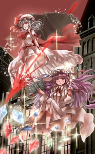 Rating: Safe Score: 0 Tags: 2girls bangs bat_wings blouse blue_hair blush book clock clock_tower cravat crescent crescent_hair_ornament crystal double_bun dress eyebrows_visible_through_hair floating flying folded_leg glowing hair_blowing hair_ornament hat hat_ribbon highres hikaru_no_yuska index_finger_raised knees_up levitation light_particles long_hair looking_at_viewer looking_to_the_side mob_cap multiple_girls open_book open_clothes open_robe outdoors parted_lips patchouli_knowledge pink_blouse pink_skirt pointy_ears puffy_short_sleeves puffy_sleeves purple_eyes purple_hair red_eyes red_neckwear red_sky remilia_scarlet ribbon robe roman_numerals sash scarlet_devil_mansion shiny shiny_hair short_hair short_sleeves skirt skirt_set sky slippers sparkle spear_the_gungnir striped striped_dress touhou_project tower very_long_hair wings User: DMSchmidt