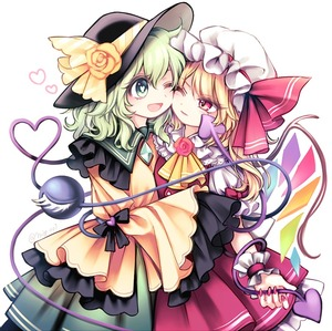 Rating: Safe Score: 0 Tags: 2girls ascot black_hat blonde_hair bow cheek-to-cheek closed_mouth eyelashes flandre_scarlet flower green_eyes green_hair green_skirt hat hat_bow hat_flower hat_ribbon heart heart-shaped_pupils heart_of_string komeiji_koishi miy_001 mob_cap multiple_girls nail_polish one_eye_closed open_mouth pink_nails pink_skirt red_eyes red_ribbon red_rose ribbon rose shirt simple_background skirt skirt_set sleeves_past_wrists smile symbol-shaped_pupils third_eye touhou_project white_background white_hat wings wrist_cuffs yellow_bow yellow_rose yellow_shirt yuri User: DMSchmidt