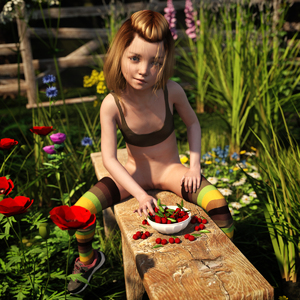 Rating: Questionable Score: 9 Tags: 1girl 3dcg blonde_hair blue_eyes cherry crop_top flat_chest garden looking_at_viewer nopan outdoors photorealistic pussy short_hair sitting_on_bench smirk sneakers solo spread_legs striped striped_thighhighs thighhighs User: yobsolo