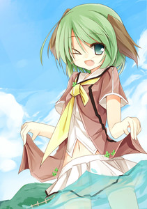 Rating: Safe Score: 0 Tags: >_o 1girl ;d >_o animal_ears blush cloud day fang green_eyes green_hair kasodani_kyouko navel neckerchief one_eye_closed open_mouth partially_underwater_shot shirt short_hair short_sleeves skirt smile solo touhou_project wading water yuuhagi_(amaretto-no-natsu) User: DMSchmidt