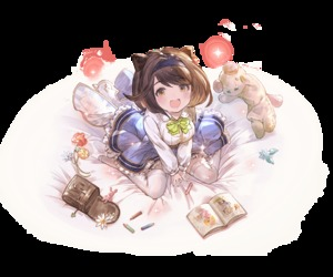 Rating: Safe Score: 2 Tags: 1girl :d bangs blue_skirt blush book bow bowtie breasts brown_eyes brown_hair child_drawing collared_shirt colored_pencil cowtits djeeta_(granblue_fantasy) draph drawing eyebrows_visible_through_hair flower frilled_skirt frills gran_(granblue_fantasy) granblue_fantasy green_bow green_neckwear hair_bobbles hair_ornament hairband horns large_breasts long_sleeves looking_at_viewer lyria_(granblue_fantasy) minaba_hideo no_shoes official_art open_mouth oppai_loli pencil pouch shirt short_hair sitting skirt smile solo stuffed_animal stuffed_toy swept_bangs teddy_bear thighhighs transparent_background v_arms vee_(granblue_fantasy) wariza white_legwear white_shirt yaia_(granblue_fantasy) zettai_ryouiki User: Domestic_Importer