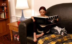 Rating: Safe Score: 6 Tags: 1girl 3dcg ass barefoot blanket blue_eyes book brown_hair cat couch drink english lamp laura_(libertine_simulacra) libertine_simulacra nail_polish photorealistic reading sitting sleeping spread_legs User: fantasy-lover