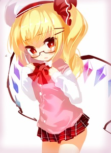 Rating: Safe Score: 0 Tags: 1girl alternate_costume bespectacled blonde_hair flandre_scarlet glasses gradient gradient_background hair_ribbon hands_on_own_chest hat heart heart-shaped_pupils looking_at_viewer microskirt no_lineart parted_lips plaid plaid_skirt red-framed_eyewear ribbon school_uniform semi-rimless_glasses short_hair side_ponytail simple_background skirt sleeves_past_wrists solo sweater_vest symbol-shaped_pupils taharu_kousuke team_shanghai_alice touhou_project under-rim_glasses uniform_vest wings User: DMSchmidt