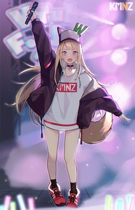 Rating: Safe Score: 2 Tags: 1girl abae animal_ears arm_up baseball_cap black_hoodie black_jacket blonde_hair blurry blurry_background concert copyright_name dog_ears dog_tail facing_viewer glowstick hat highres holding holding_microphone hood hood_down hoodie jacket kmnz lights logo long_hair mc_lita microphone open_clothes open_hoodie open_mouth oversized_clothes oversized_shirt purple_eyes red_footwear shirt shoes smile sneakers solo stage standing tail virtual_youtuber white_shirt User: DMSchmidt