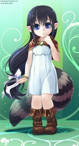 Rating: Safe Score: 0 Tags: 1girl black_hair blue_dress blue_eyes boots bracelet capelet dress full_body hand_to_own_mouth highres jewellery knee_boots krokobyaka long_hair looking_at_viewer low_ponytail no_animal_ears open_mouth original pointy_ears raccoon_tail ribbon solo tail very_long_hair User: DMSchmidt
