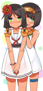 Rating: Safe Score: 2 Tags: 2girls :d absurdres bangs bare_arms bare_shoulders blush brown_hair closed_mouth collarbone dress eyebrows_visible_through_hair flower green_eyes hair_between_eyes hair_flower hair_ornament hairband hands_on_another's_shoulders highres long_hair multiple_girls neckerchief nose_blush open_mouth original pleated_skirt red_flower red_neckwear round_teeth sailor_collar sailor_dress skirt smile teeth thigh_strap toy_box-r upper_teeth usekh_collar white_dress white_sailor_collar User: Domestic_Importer
