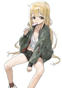 Rating: Safe Score: 0 Tags: 1girl between_legs blonde_hair bomber_jacket brown_eyes camisole candy eyebrows_visible_through_hair flat_chest food futaba_anzu hand_between_legs highres idolmaster idolmaster_cinderella_girls jacket licking lollipop long_hair looking_at_viewer low_twintails mossi open_clothes open_jacket short_shorts shorts simple_background sitting sleeves_past_wrists solo swirl_lollipop tongue tongue_out twin_tails white_background User: Domestic_Importer