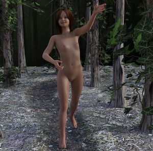 Rating: Questionable Score: 7 Tags: 1girl 3dcg bald_pussy barefoot blue_eyes brown_hair flat_chest forest looking_up medium_hair nude path photorealistic self_upload small_nipples smile tree virginlover walking User: Virginlover