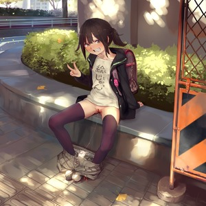 Rating: Explicit Score: 28 Tags: 1girl ass backpack bag black_eyes black_hair black_legwear blush building bush cleft_of_venus clothes_writing collarbone crime_prevention_buzzer flat_chest full_body ginkgo_leaf grin highres hood hooded_jacket hoodie jacket leaf long_sleeves looking_at_viewer looking_to_the_side open_clothes open_jacket original outdoors pants pants_down pantsu pantsu_pull plant ponytail pussy pussy_juice pussy_juice_puddle pussy_juice_stain pussy_juice_trail randoseru shirt shoe_soles shoes shorts shorts_pull sitting sleeves_past_wrists smile solo stain stained_clothes stained_panties t-shirt teeth thighhighs uncensored underwear v white_pantsu yamada_(gotyui) User: DMSchmidt
