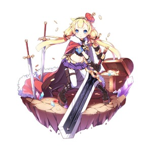 Rating: Safe Score: 2 Tags: 1girl aoi_tsunami armband blonde_hair blue_eyes boots cape chestnut_mouth coin crown elbow_gloves gloves hairband highres huge_weapon jewellery knee_boots long_hair midriff navel necklace original pointy_ears sheath skirt sword thighhighs treasure_chest twin_tails weapon zettai_ryouiki User: DMSchmidt