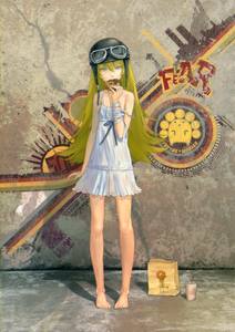 Rating: Safe Score: 5 Tags: 1girl bakemonogatari bandages barefoot blonde_hair camisole doughnut dress eating feet food goggles graffiti hands helmet highres legs long_hair mister_donut monogatari_(series) original oshino_shinobu pon_de_lion redjuice see-through solo strap_slip wooser_(character) yellow_eyes User: DMSchmidt