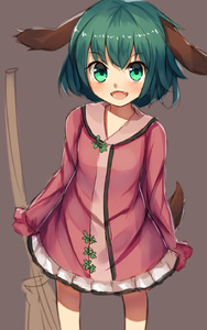 Rating: Safe Score: 0 Tags: 1girl animal_ears blush broom dog_ears dress fang green_eyes green_hair highres kasodani_kyouko looking_at_viewer open_mouth shone short_hair simple_background smile solo tail touhou_project User: DMSchmidt