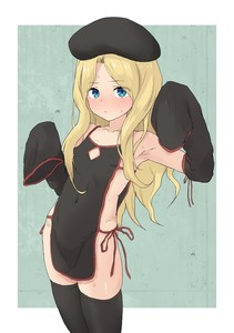 Rating: Questionable Score: 12 Tags: 1girl apron armpits beret black_and_red black_clothes blonde_hair blue_eyes breasts concerned eyebrows eyebrows_visible_through_hair frenda_seivelun leaning long_sleeves looking_at_viewer open_mouth rough_lines side-tie small_breasts tabard thighhighs to_aru_majutsu_no_index yakihebi User: Alacaster