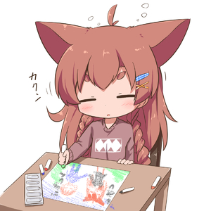 Rating: Safe Score: 0 Tags: 1girl animal_ears braid brown_hair chibi child_drawing closed_eyes crayon hair_ornament hairclip lonely makuran original simple_background sleepy solo table thick_eyebrows twin_braids white_background User: Domestic_Importer