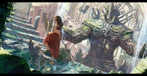 Rating: Safe Score: 1 Tags: 1girl ancient architecture armlet back barefoot brown_hair day dog dutch_angle from_behind highres letterboxed long_hair long_skirt looking_down moss original overgrown ox_(baallore) perspective pillar polearm red_skirt rock ruins scenery shaking skirt smile solo spear stairs statue stream sunlight traditional_clothes walking water waterfall weapon wet User: DMSchmidt